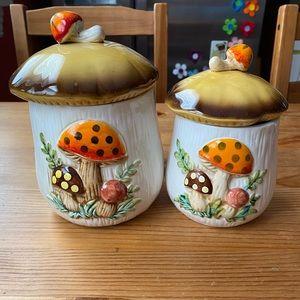Vintage 1970s Mushroom Canisters